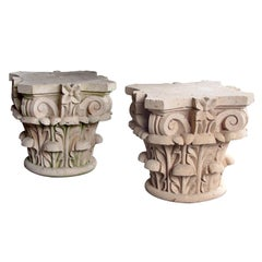 Large Pair of Mexican Hand Carved Cantera Stone Corinthian Capitals