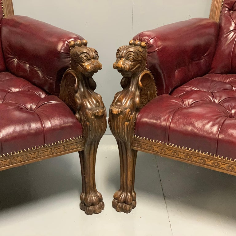 Large Pair of Mid-19th Century European Buttoned Leather Armchairs with Griffins For Sale 4