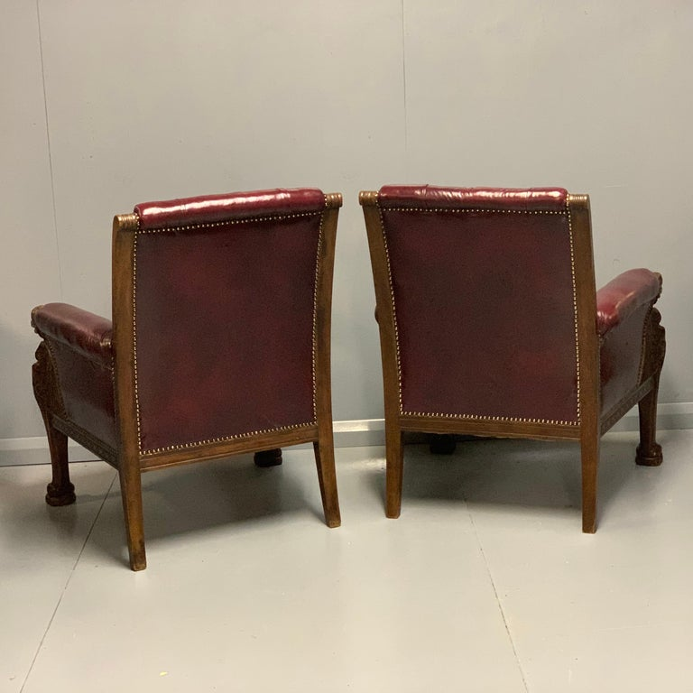Large Pair of Mid-19th Century European Buttoned Leather Armchairs with Griffins For Sale 5