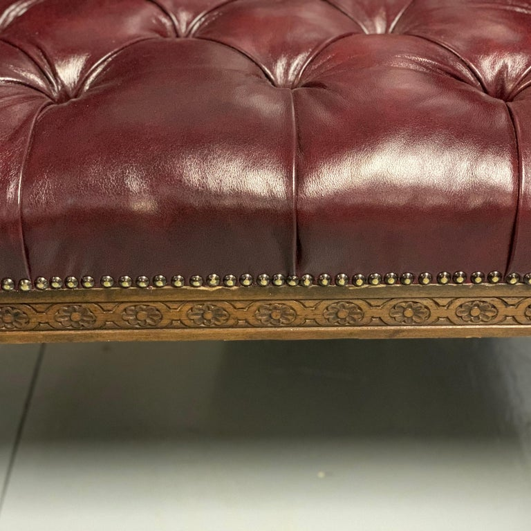 Large Pair of Mid-19th Century European Buttoned Leather Armchairs with Griffins For Sale 6