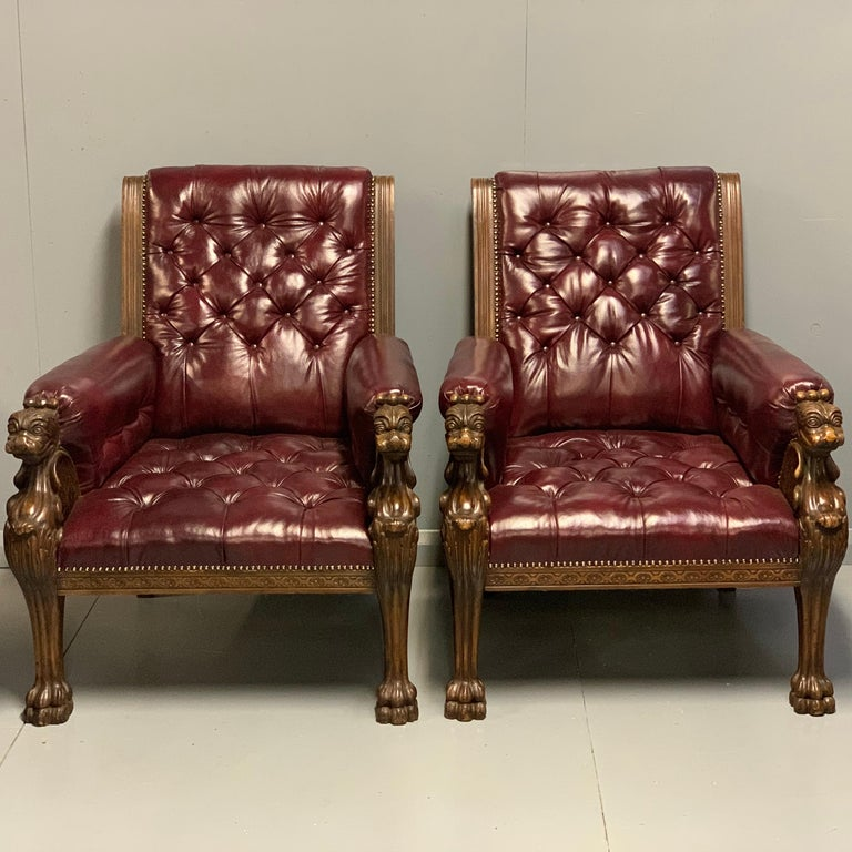 Other Large Pair of Mid-19th Century European Buttoned Leather Armchairs with Griffins For Sale