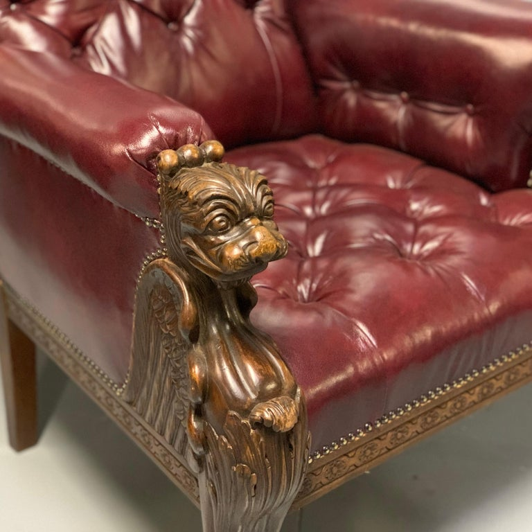 Large Pair of Mid-19th Century European Buttoned Leather Armchairs with Griffins For Sale 2