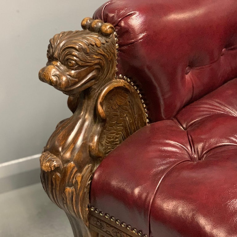 Large Pair of Mid-19th Century European Buttoned Leather Armchairs with Griffins For Sale 3