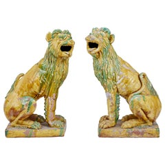Large Pair of Mid-20th Century Indonesian Salt Glazed Decoration Dogs
