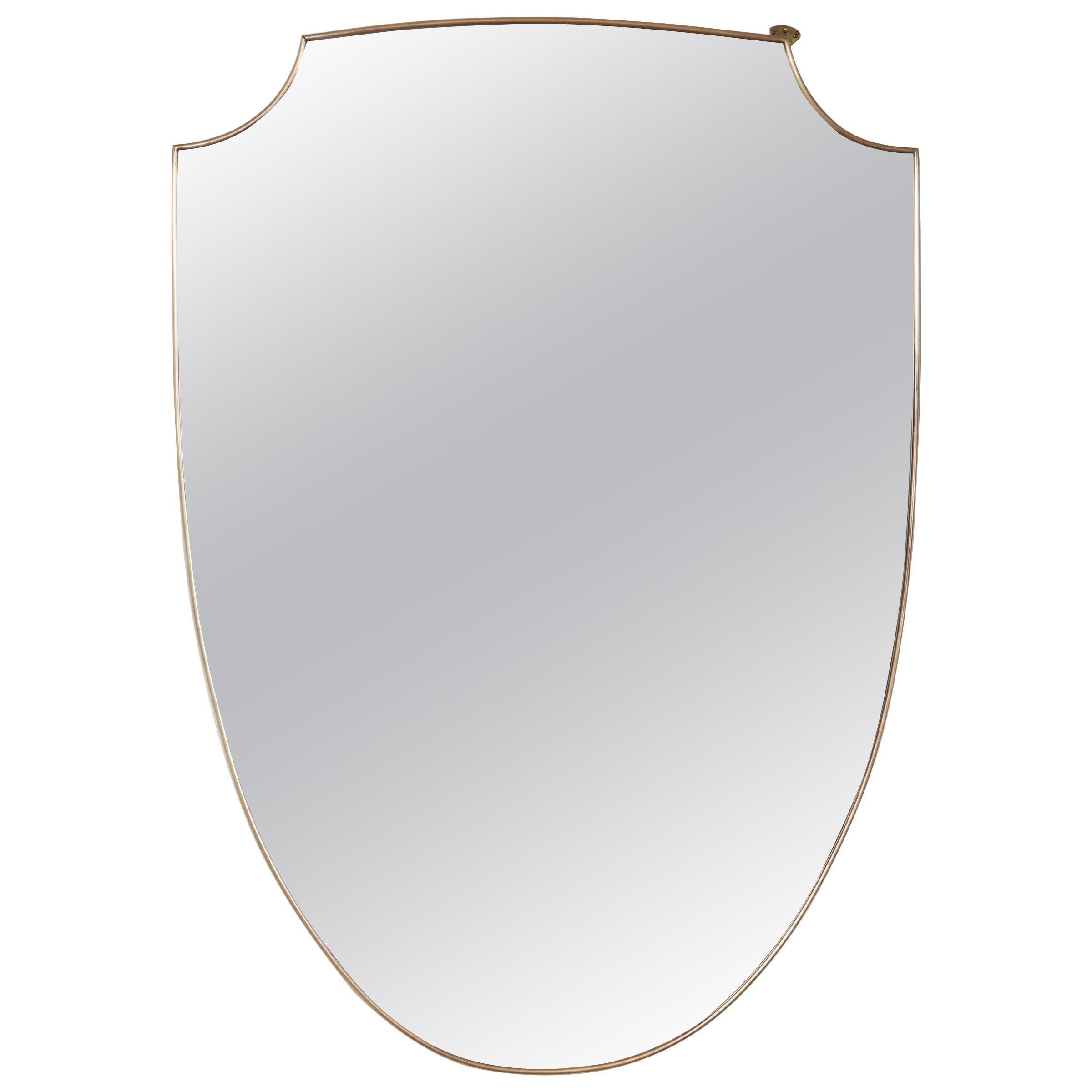 Large Pair of Mid Century Italian Design Shield-Shaped Mirrors, Gio Ponti Style