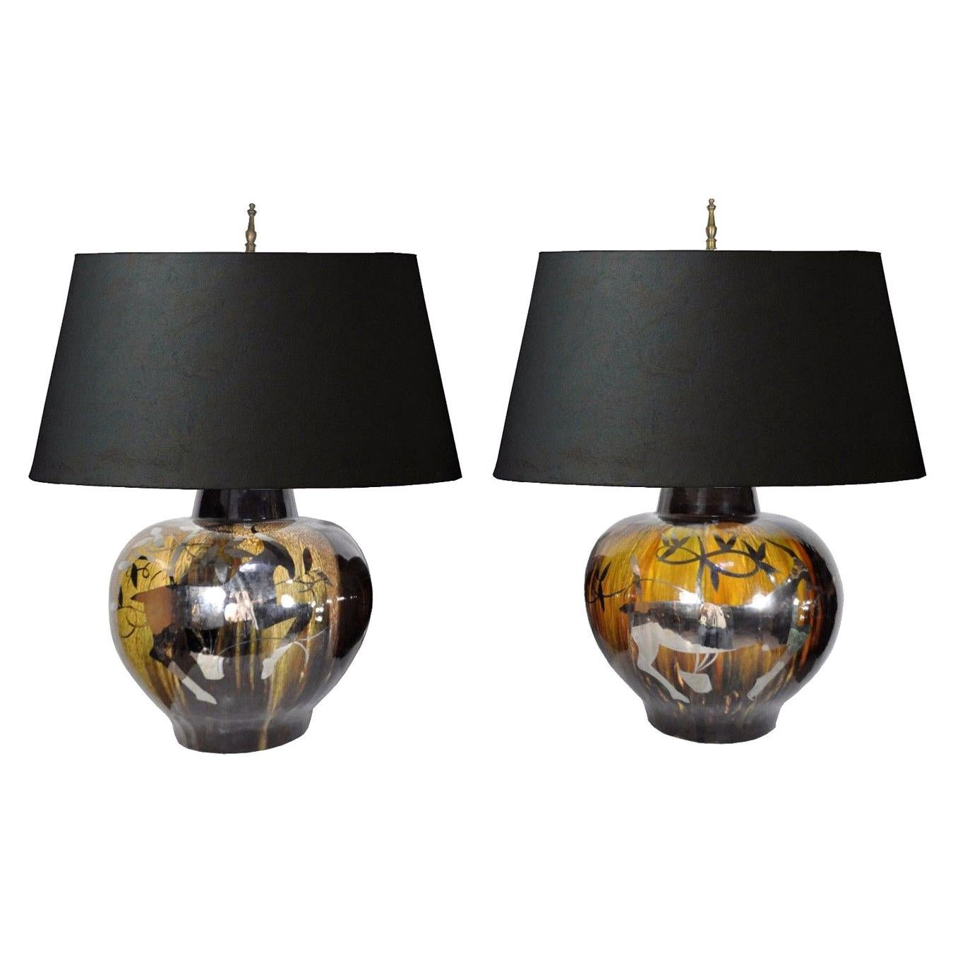 Large Pair of Mid-Century Modern Gazelle Ram Drip Glaze Pottery Table Lamps