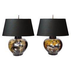 Large Pair of Mid-Century Modern Gazelle Ram Drip Glaze Pottery Table Lamps