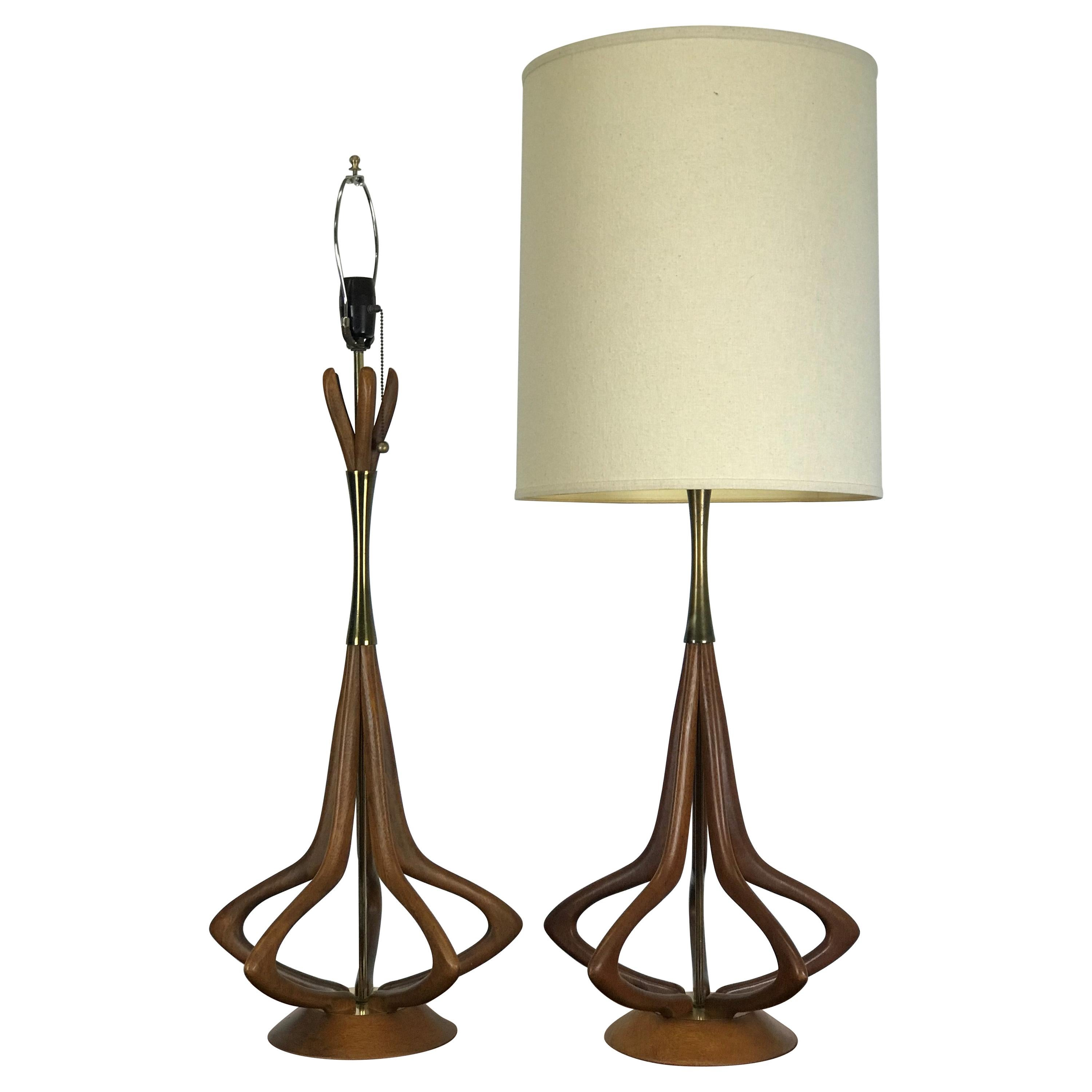 Mid-Century Modern Lamps in Sculptural Walnut with Brass Accents by Modeline