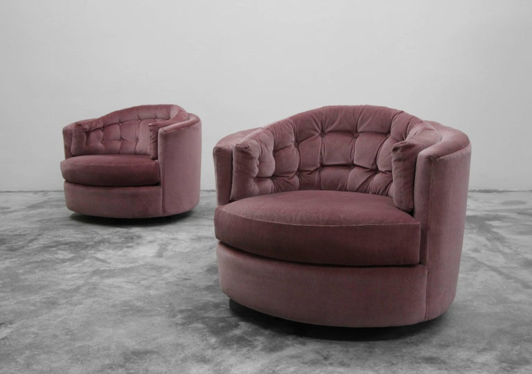 Large Pair Of Midcentury Tufted Back Barrel Swivel Chairs