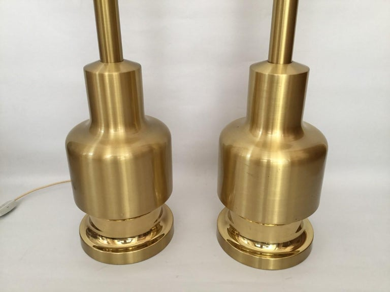 Late 20th Century Large Pair of Midcentury Golden Brass Spanish Table Lamps by Clar, 1970s For Sale