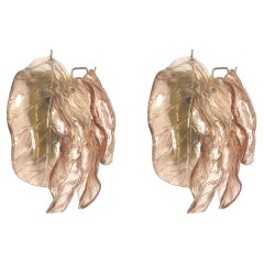 Large Pair of Midcentury Italian Pink Murano Glass Wall Sconces from 70s