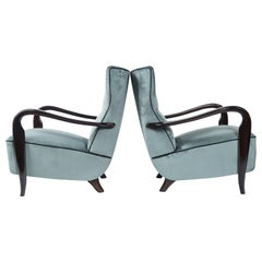 Large Pair of Midcentury Velvet Lounge Chairs Attributed to Guglielmo Ulrich