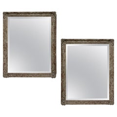 Large Pair of Mirrors In Distressed Paintedc Frames