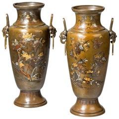 Large Pair of Mixed Metal Meiji Period Vases