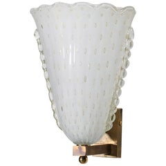 Large Pair of Modern Italian Wall Lights, Murano Glass and Brass