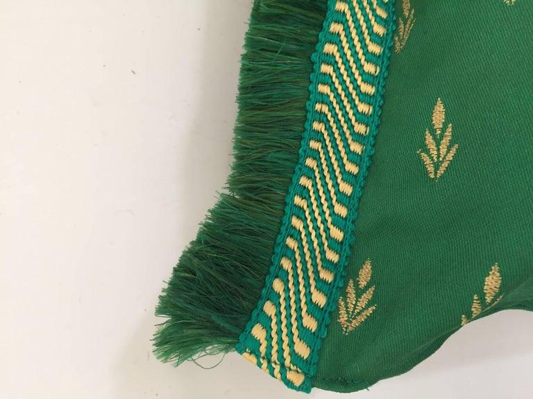Large Pair of Moroccan Damask Green Bolster Lumbar Decorative Pillows For Sale 3