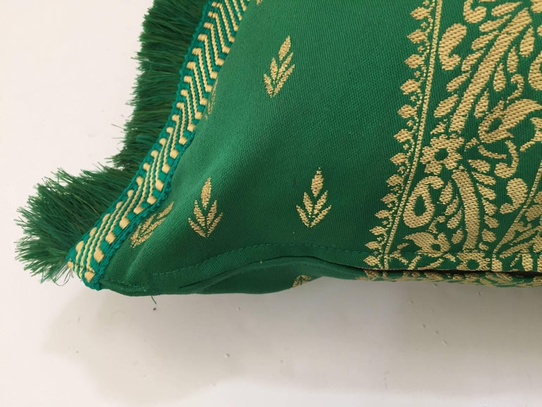Large Pair of Moroccan Damask Green Bolster Lumbar Decorative Pillows For Sale 4