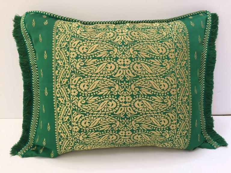 Moorish Large Pair of Moroccan Damask Green Bolster Lumbar Decorative Pillows For Sale