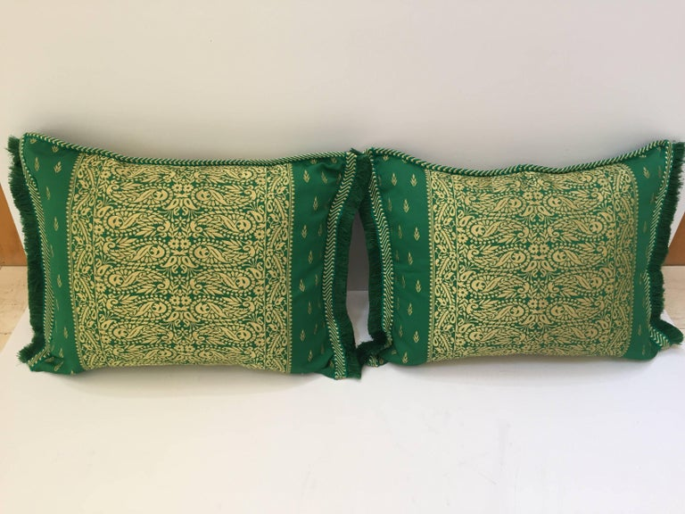 Hand-Crafted Large Pair of Moroccan Damask Green Bolster Lumbar Decorative Pillows For Sale