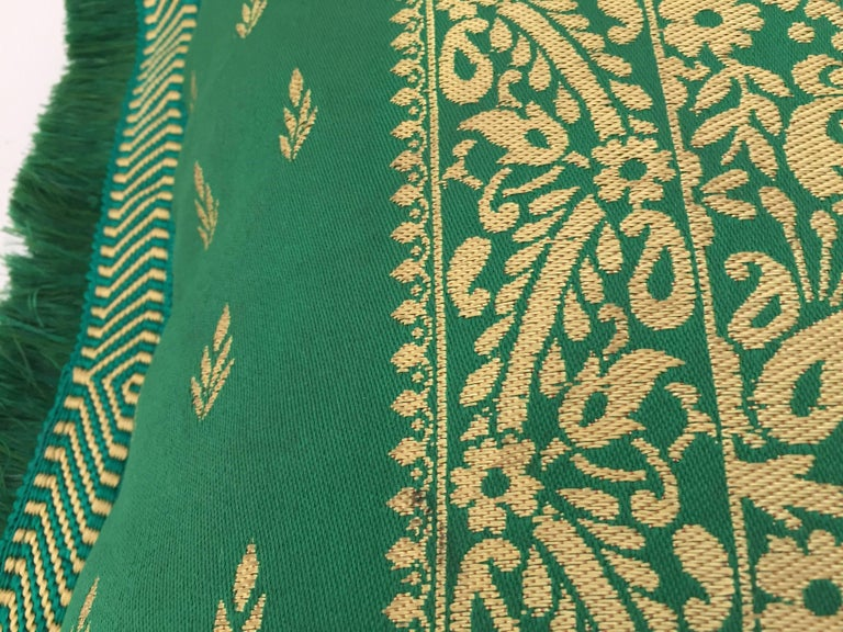 Large Pair of Moroccan Damask Green Bolster Lumbar Decorative Pillows In Good Condition For Sale In North Hollywood, CA