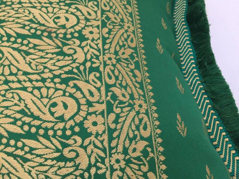 Fabric Large Pair of Moroccan Damask Green Bolster Lumbar Decorative Pillows For Sale