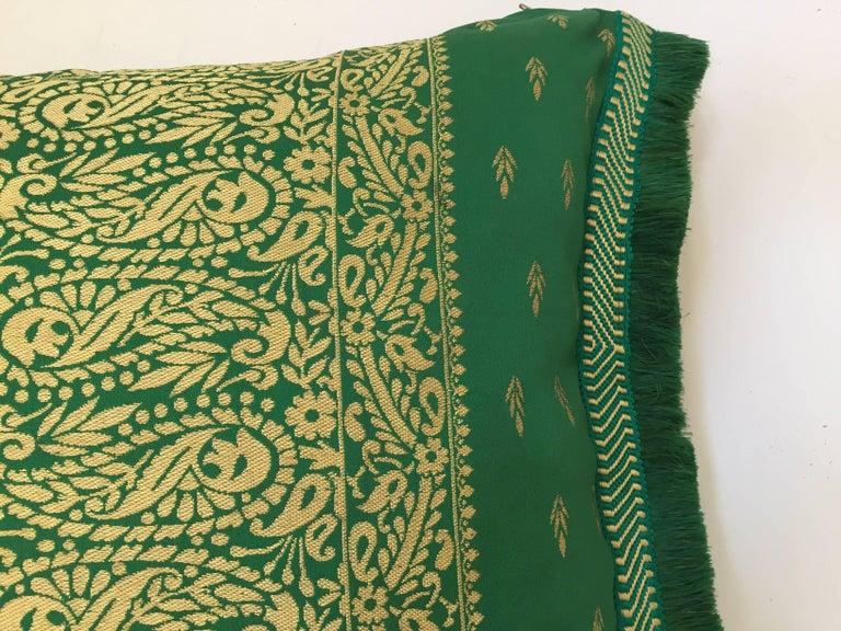 Large Pair of Moroccan Damask Green Bolster Lumbar Decorative Pillows For Sale 1