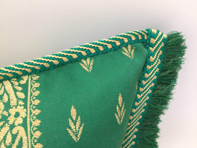Large Pair of Moroccan Damask Green Bolster Lumbar Decorative Pillows For Sale 2