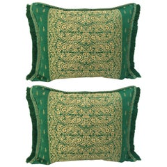 Large Pair of Moroccan Damask Green Bolster Lumbar Decorative Pillows