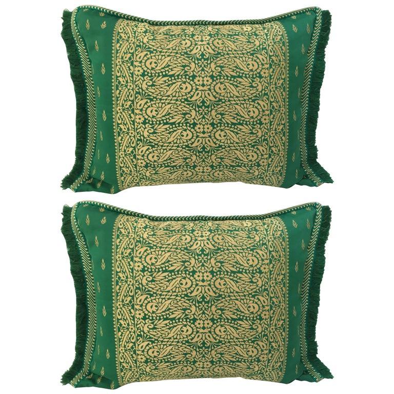Large Pair of Moroccan Damask Green Bolster Lumbar Decorative Pillows For Sale