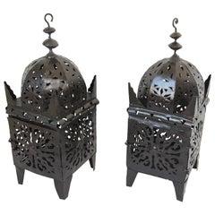 Large Pair of Moroccan Hurricane Metal Candle Kasbah Lantern