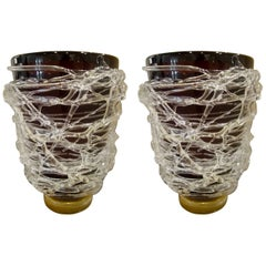 Large Pair of Murano Mauve and Gold Sergio Costantini Signed Vases
