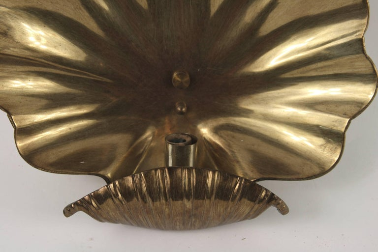 Large Pair of Mid Century  Brass Shell Sconces In Good Condition For Sale In Douglas Manor, NY