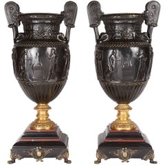 Large Pair of Neoclassical Bronze Urns, 19th Century