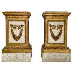 Large Pair of Neoclassical Sculpture Pedestals White Painted and Giltwood, 1800s