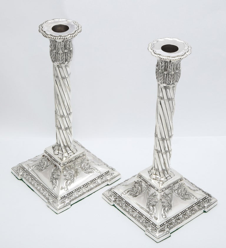 Large Pair of Neoclassical Sterling Silver Column-Form Candlesticks For Sale 11