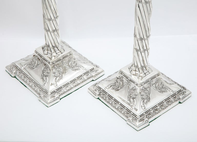 Large Pair of Neoclassical Sterling Silver Column-Form Candlesticks For Sale 12