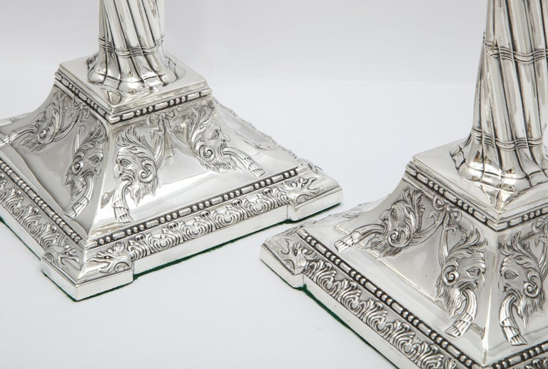 Large Pair of Neoclassical Sterling Silver Column-Form Candlesticks For Sale 14