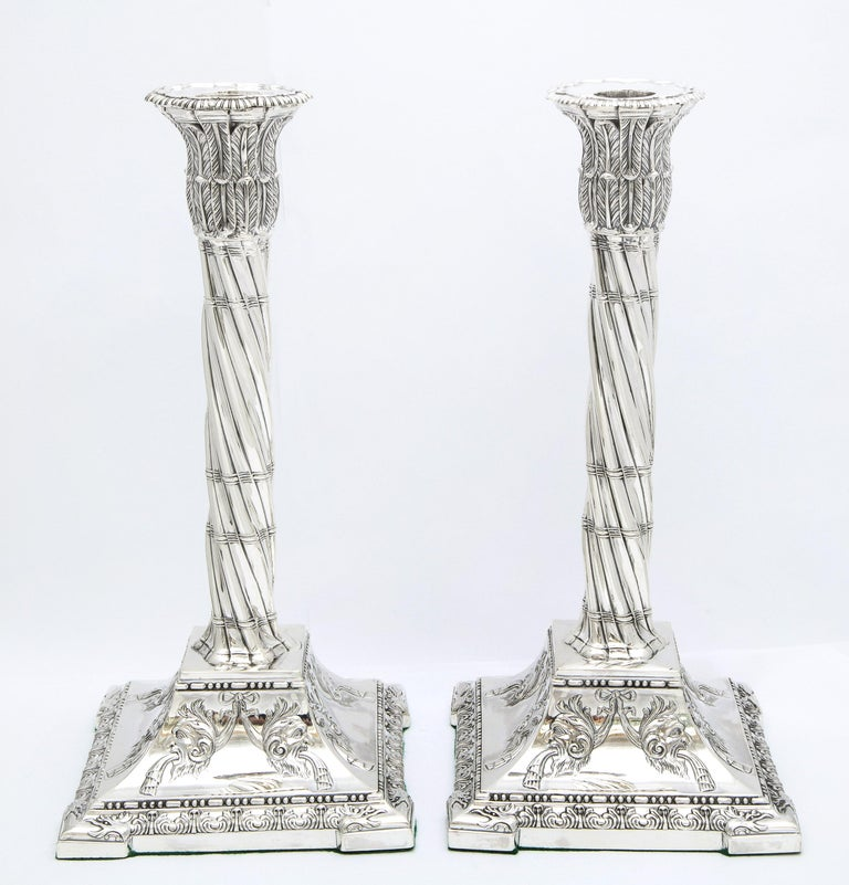 Large pair of Neoclassical (made in the Victorian Period), sterling silver column-form candlesticks, Sheffield, England, year-hallmarked for 1898, Henry Wigful - maker. Each candlestick measures 11 1/6 inches high x 5 1/4 inches deep x 5 1/4 inches