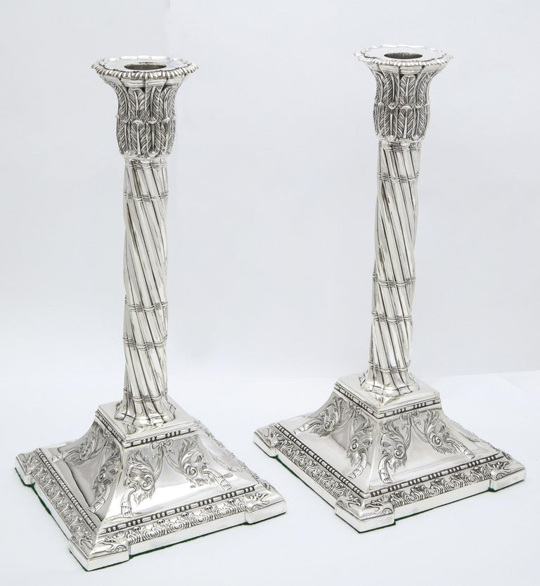English Large Pair of Neoclassical Sterling Silver Column-Form Candlesticks For Sale