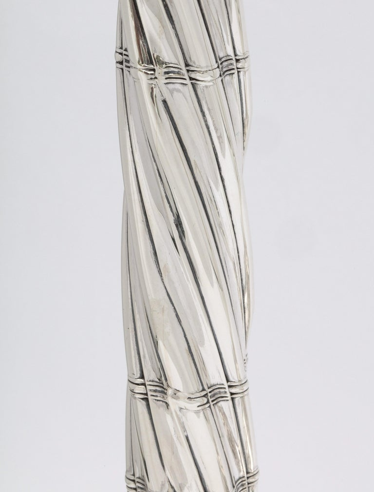 Large Pair of Neoclassical Sterling Silver Column-Form Candlesticks For Sale 2