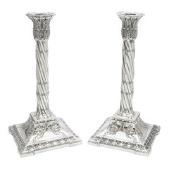Large Pair of Neoclassical Sterling Silver Column-Form Candlesticks