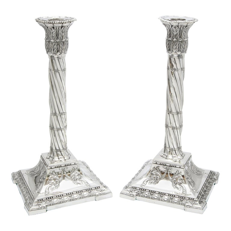 Large Pair of Neoclassical Sterling Silver Column-Form Candlesticks For Sale