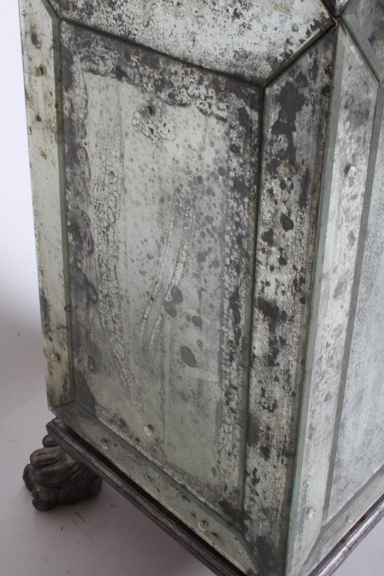 Large Pair of Neoclassical Venetian Style Antique Mirrored Obelisks on Paw Feet For Sale 7