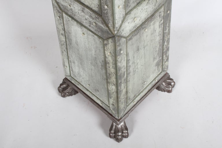 Large Pair of Neoclassical Venetian Style Antique Mirrored Obelisks on Paw Feet For Sale 8
