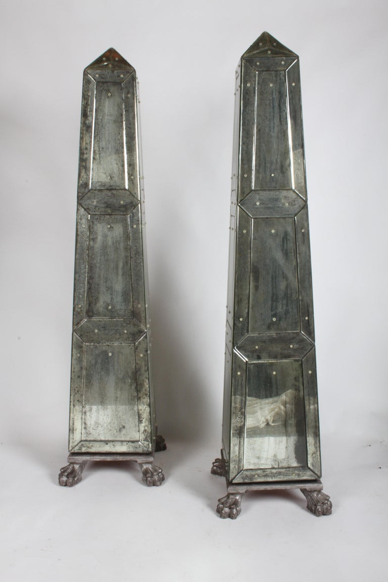 Large Pair of Neoclassical Venetian Style Antique Mirrored Obelisks on Paw Feet For Sale 11