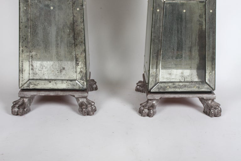 Large Pair of Neoclassical Venetian Style Antique Mirrored Obelisks on Paw Feet For Sale 13