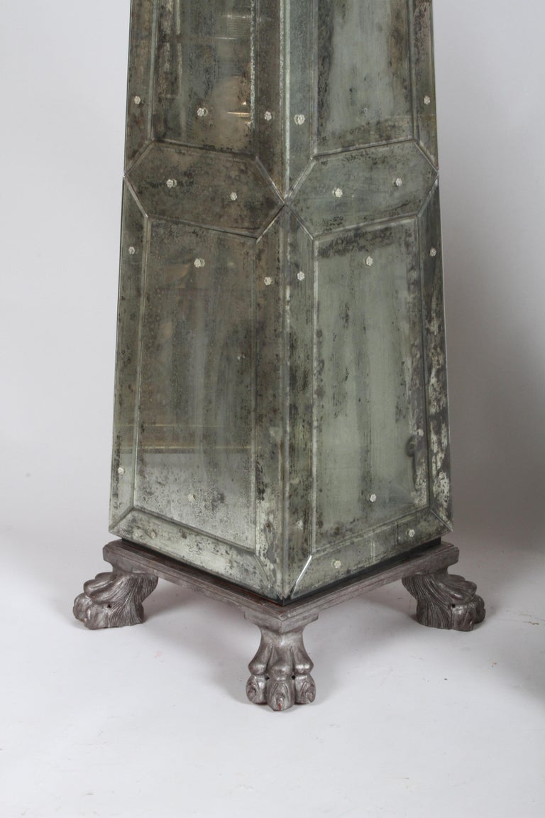 Large Pair of Neoclassical Venetian Style Antique Mirrored Obelisks on Paw Feet In Good Condition For Sale In St. Louis, MO
