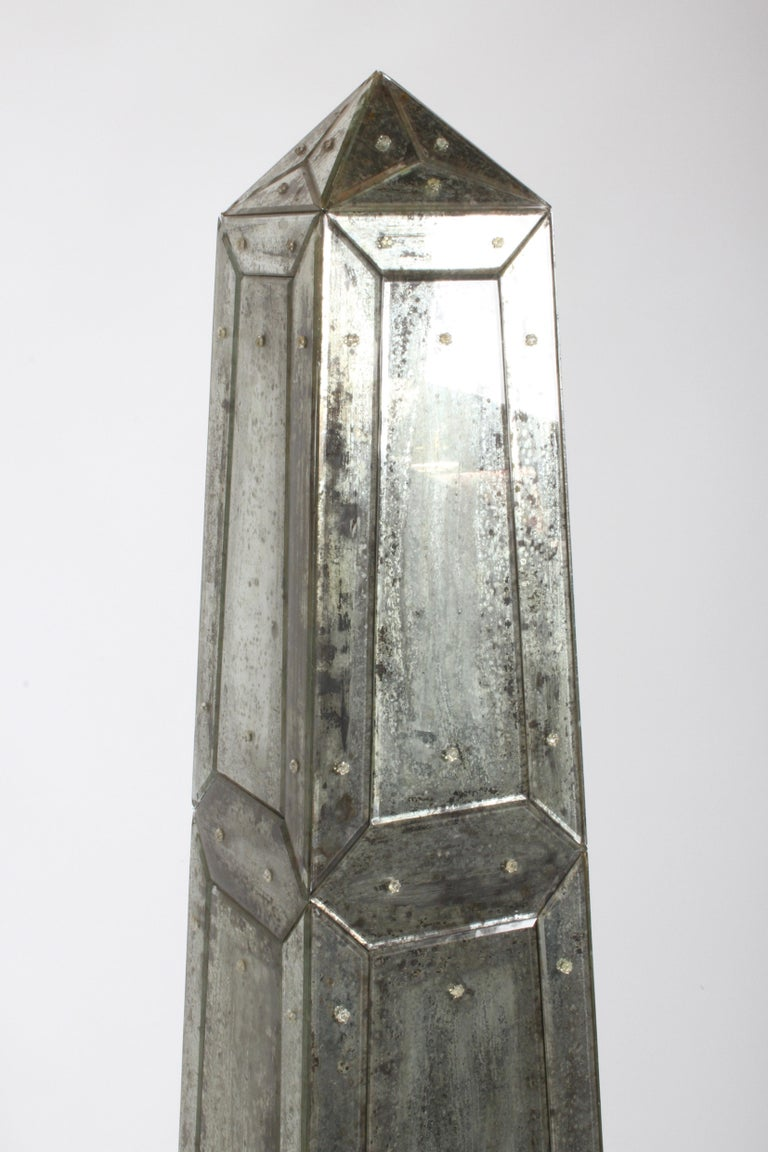Large Pair of Neoclassical Venetian Style Antique Mirrored Obelisks on Paw Feet For Sale 3