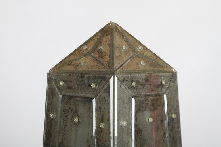 Large Pair of Neoclassical Venetian Style Antique Mirrored Obelisks on Paw Feet For Sale 4
