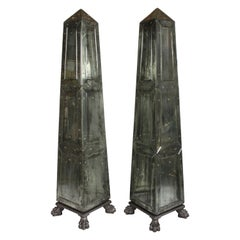 Large Pair of Neoclassical Venetian Style Antique Mirrored Obelisks on Paw Feet
